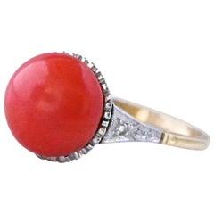Art Deco Style Coral Diamond 18 Karat Gold Ring