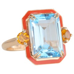 Art Deco Style Coral Enameled Cocktail Ring with Sky Topaz and Citrine