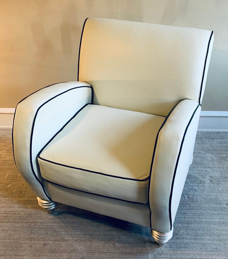 American Art Deco Style Cream Leather Club Chair by Larry Laslo for Directional For Sale