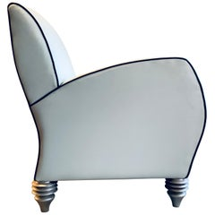 Art Deco Style Cream Leather Club Chair by Larry Laslo for Directional