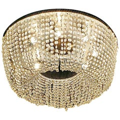 Art Deco Style Crystal Flush Mount Chandelier with Provenance