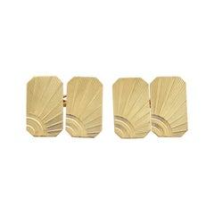 Art Deco Style Cufflinks in 9 Karat Yellow Gold, '1967'