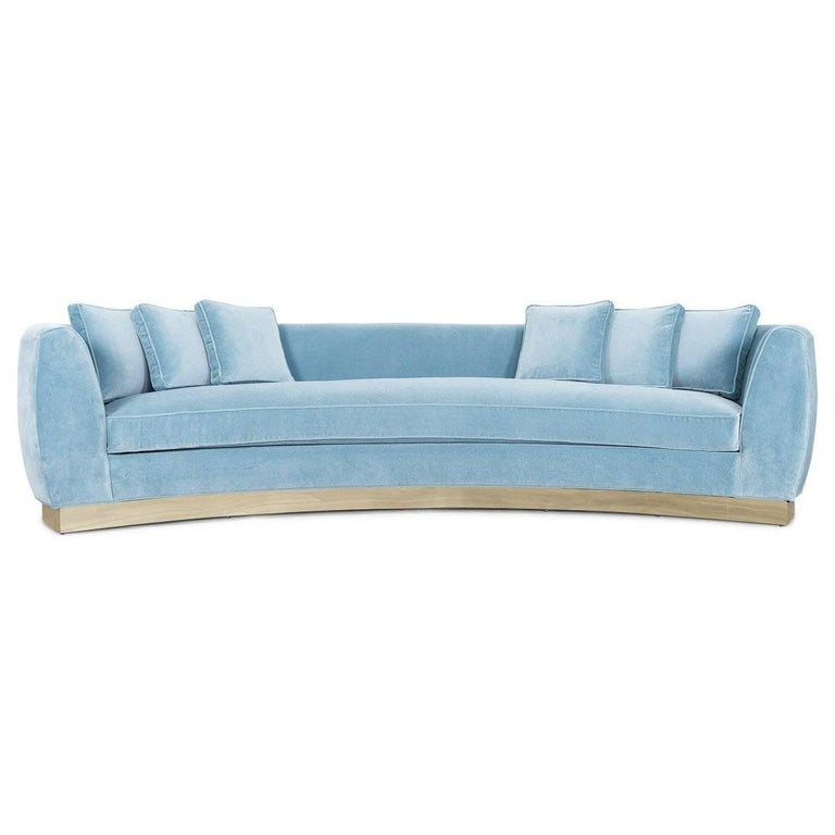 Art Deco Style Curved Sofa in Velvet Upholstery with Brass Toe-kick Base 10 foot For Sale 1