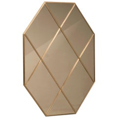 Art Deco Style Customizable Octagonal Brass Window Look Mirror