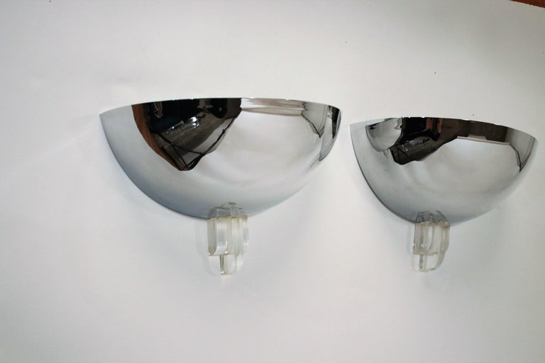 Pair of demilune Art Deco design wall sconces in mirrored chrome and Lucite accents by Boyd. Wired and working.