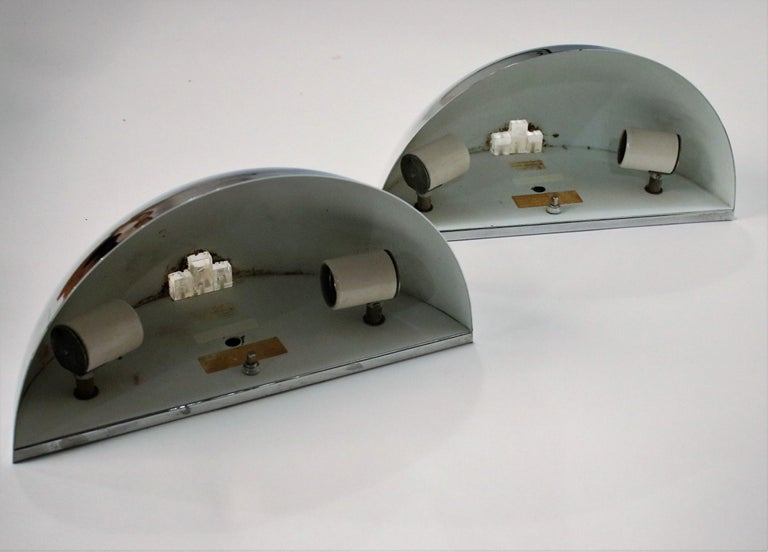 Art Deco Style Demilune Chrome Wall Sconces by Boyd In Good Condition For Sale In Chicago, IL