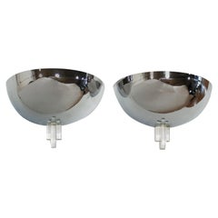 Art Deco Style Demilune Chrome Wall Sconces by Boyd