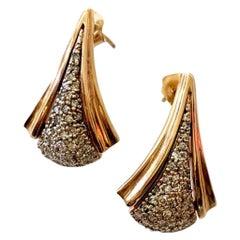 Art Deco Style Diamond 14 Karat Gold Earrings