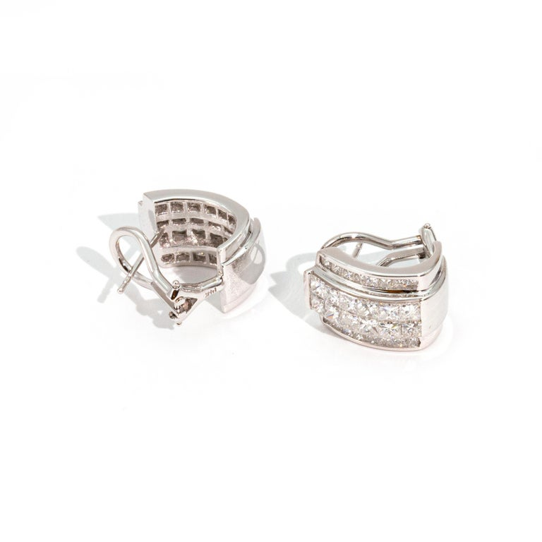 Princess Cut Art Deco Style Diamond and 14 Carat White Gold Earrings For Sale