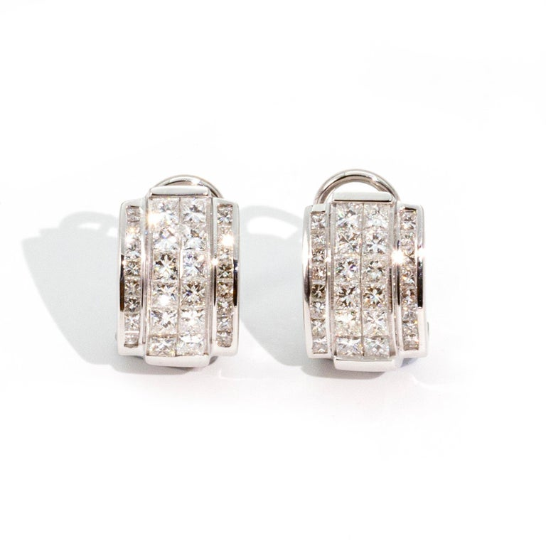 Women's Art Deco Style Diamond and 14 Carat White Gold Earrings For Sale