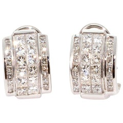Art Deco Style Diamond and 14 Carat White Gold Earrings