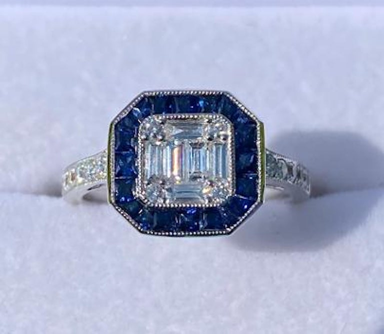 Baguette Cut Art Deco Style Diamond and Blue Sapphire Calibre Cut 18 Karat White Gold Ring For Sale