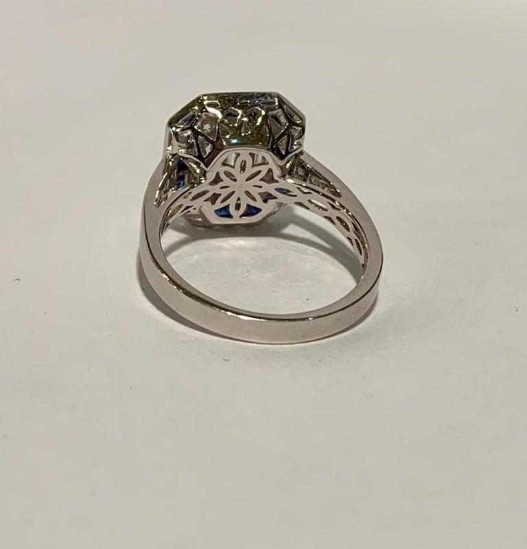 Art Deco Style Diamond and Blue Sapphire Calibre Cut 18 Karat White Gold Ring 5