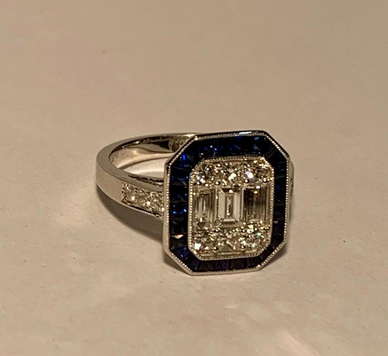 Art Deco Style Diamond and Blue Sapphire Calibre Cut 18 Karat White Gold Ring For Sale 7