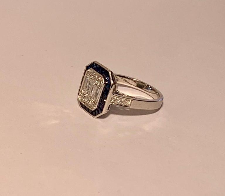 Art Deco Style Diamond and Blue Sapphire Calibre Cut 18 Karat White Gold Ring For Sale 8