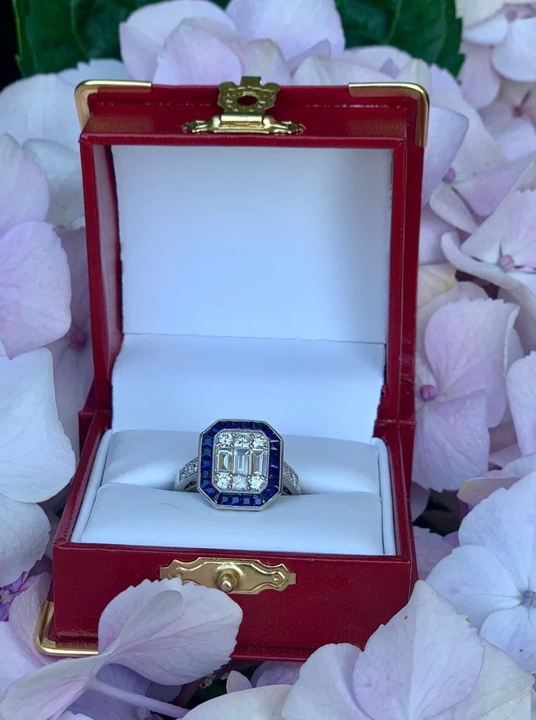 Round Cut Art Deco Style Diamond and Blue Sapphire Calibre Cut 18 Karat White Gold Ring For Sale