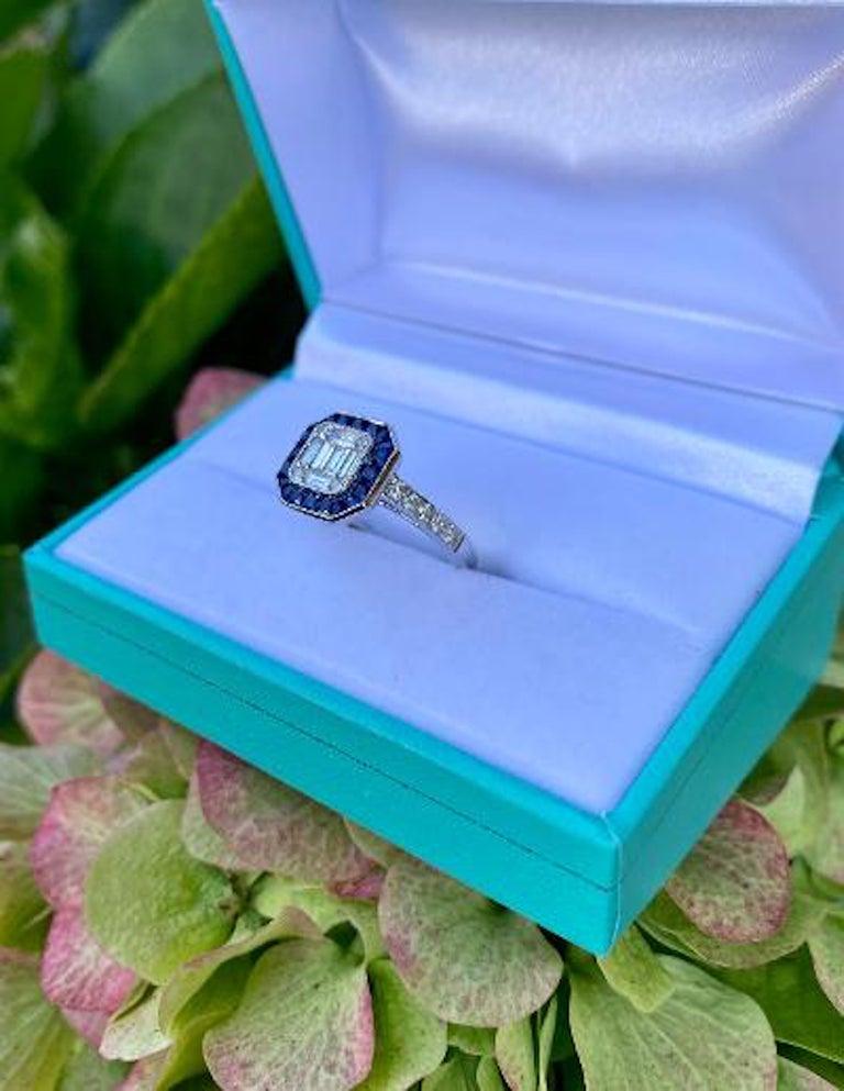 Baguette Cut Art Deco Style Diamond and Blue Sapphire Calibre Cut 18 Karat White Gold Ring For Sale