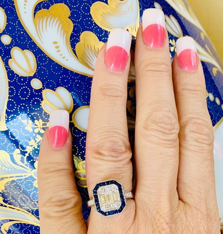 Art Deco Style Diamond and Blue Sapphire Calibre Cut 18 Karat White Gold Ring In Excellent Condition In Tustin, CA