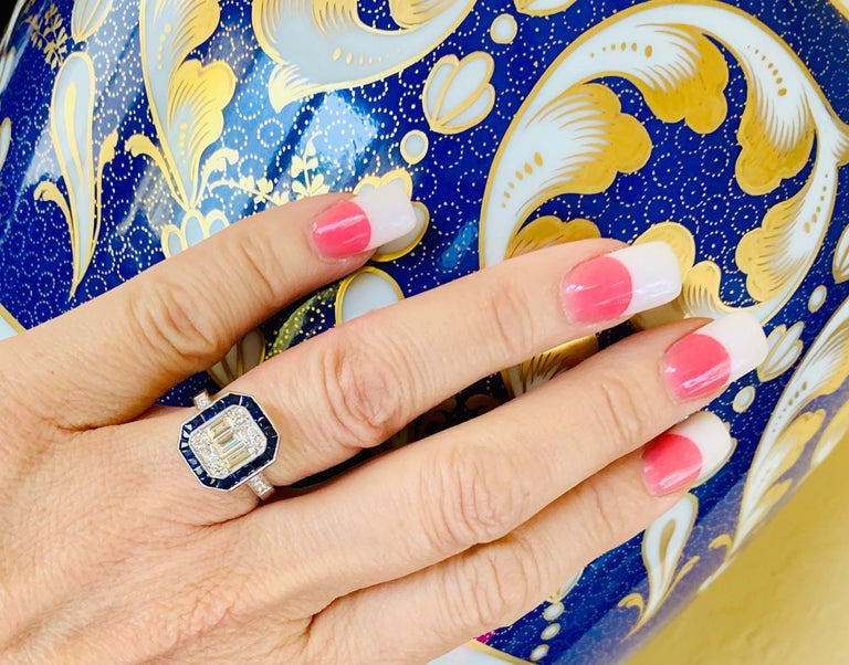 Art Deco Style Diamond and Blue Sapphire Calibre Cut 18 Karat White Gold Ring For Sale 2