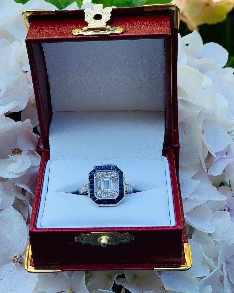 Art Deco Style Diamond and Blue Sapphire Calibre Cut 18 Karat White Gold Ring For Sale 1