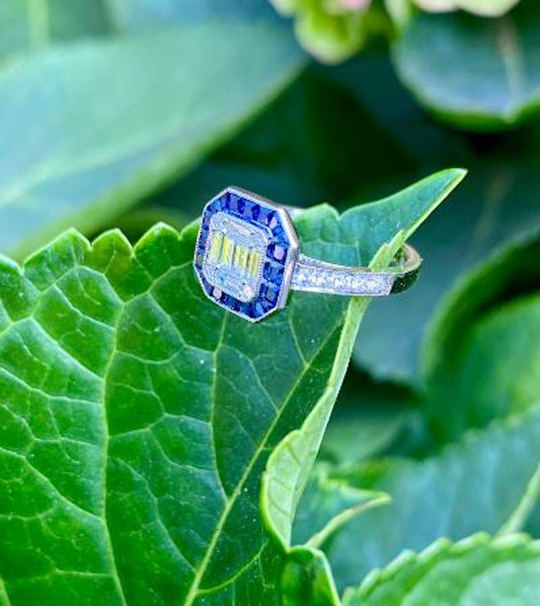 Art Deco Style Diamond and Blue Sapphire Calibre Cut 18 Karat White Gold Ring For Sale 2