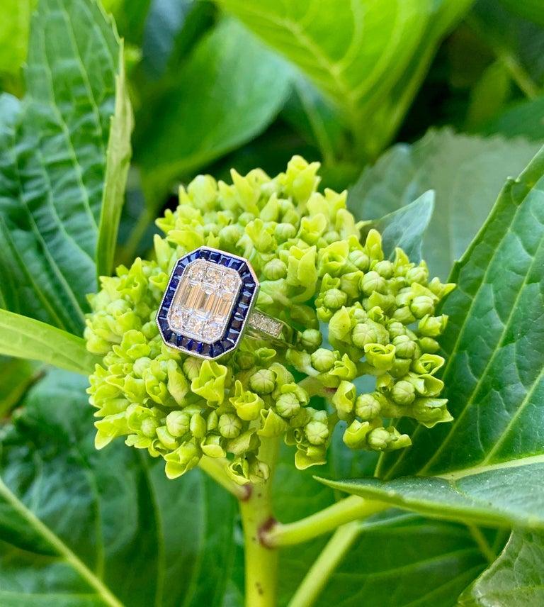 Art Deco Style Diamond and Blue Sapphire Calibre Cut 18 Karat White Gold Ring For Sale 3