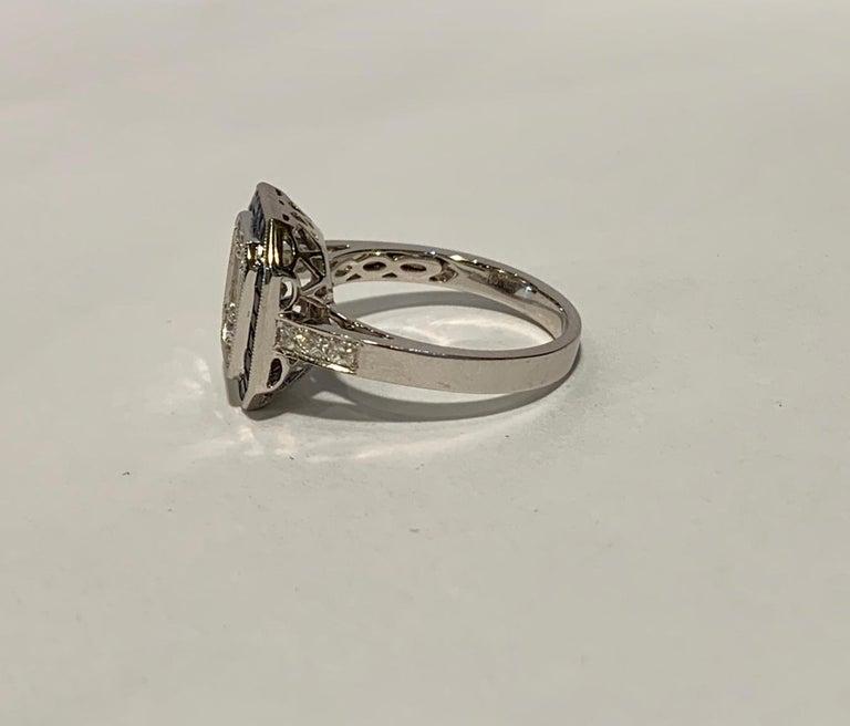 Art Deco Style Diamond and Blue Sapphire Calibre Cut 18 Karat White Gold Ring For Sale 4