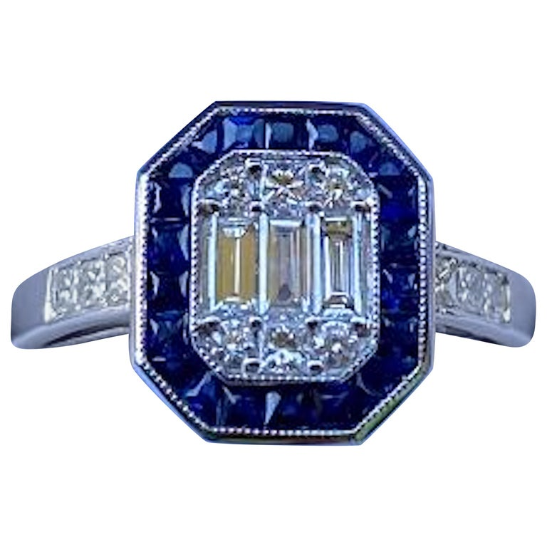 Art Deco Style Diamond and Blue Sapphire Calibre Cut 18 Karat White Gold Ring For Sale