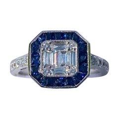 Art Deco Style Diamond and Blue Sapphire Calibre Cut 18 Karat White Gold Ring