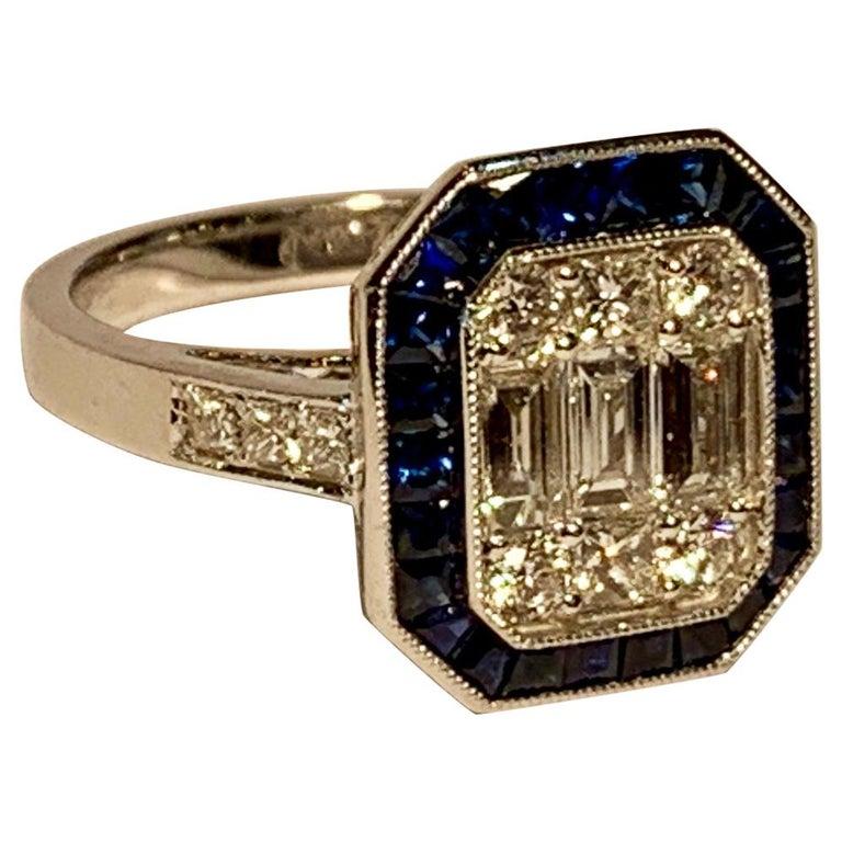 Art Deco Style Diamond and Blue Sapphire Calibre Cut 18 Karat White Gold Ring For Sale