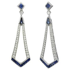 Art Deco Style Diamond and Blue Sapphire Dangle Earrings