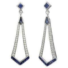 Art Deco Style Diamond and Blue Sapphire Dangle Earrings