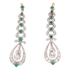 Art Deco Style Diamond and Emerald Platinum Dangle Earrings Estate Fine Jewelry
