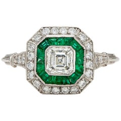 Art Deco Style Diamond and Emerald Ring