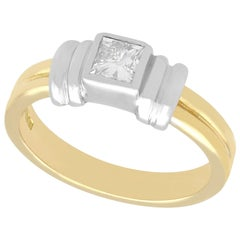 Art Deco Style Diamond and Gold Solitaire Ring
