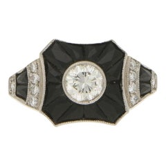 Art Deco Style Diamond and Onyx Target Engagement Ring Set in 18 Karat Gold