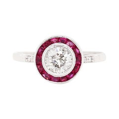 Art Deco Style Diamond and Ruby 18 Carat White Gold Target Engagement Ring