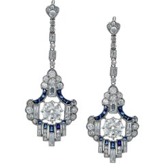 Diamond and Sapphire Dangle Earrings