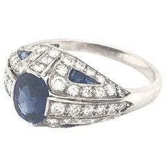 Art Deco Style Diamond and Sapphire Platinum Ring