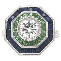 Art Deco Style Diamond and Sapphire Ring
