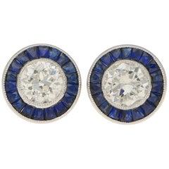 Art Deco Style Diamond and Sapphire Stud Earrings Set in Platinum