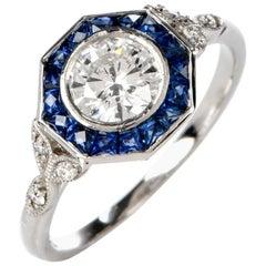 Art Deco Style Diamond Blue Sapphire Octagonal Platinum Ring