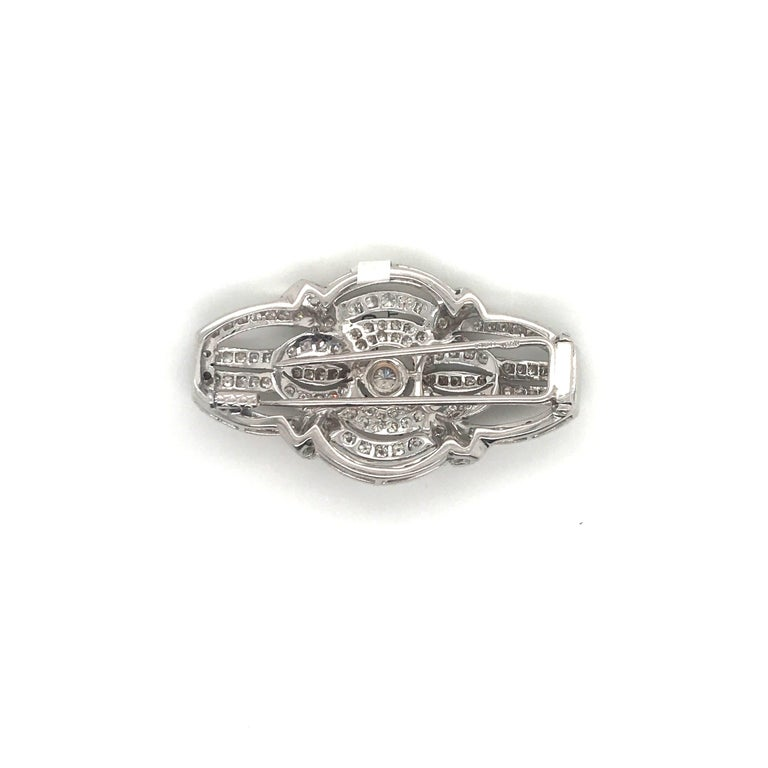 Women's or Men's Art Deco Style Diamond Brooch 2.50 Carat, Italy For Sale