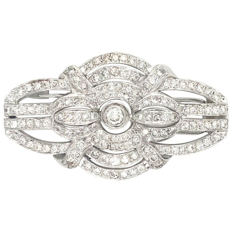 Art Deco Style Diamond Brooch 2.50 Carat, Italy For Sale