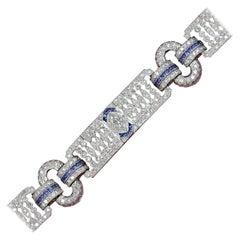 Art Deco Style Diamond Buckle Link Bracelet 18 Karat White Gold