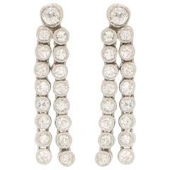 Art Deco Style Diamond Drop Earrings Set in 18 Karat White Gold