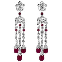 Art Deco Style Diamond Drop Earrings with 32 Carats of Natural Burmese Ruby