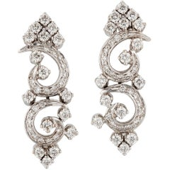 Art Deco Style Diamond Earrings 18 Carat White Gold