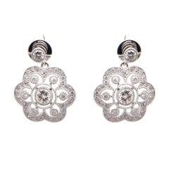 Art Deco Style Diamond Earrings in 18 Carat White Gold