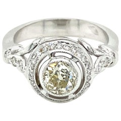Art Deco Style Diamond Engagement Gold Ring